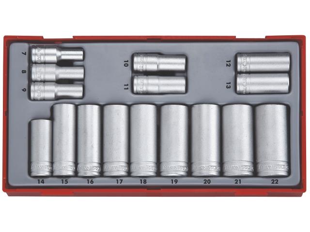 Køb Teng Tools topnøglesæt 3/8″ TT3816 med 16 lange toppe 7-22mm