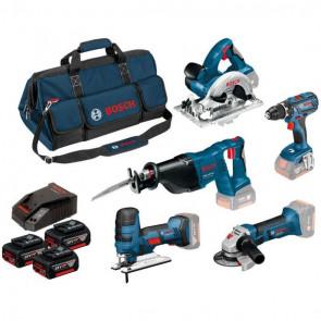 Bosch Akku Sæt 18V, 5 stk. værktøj, 3 batterier og lader med taske - 0615990K6N