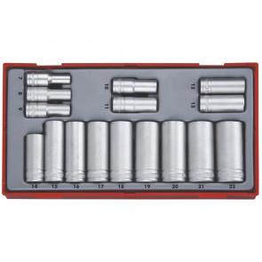 """Teng Tools topnøglesæt 3/8"""" TT3816 med 16 lange toppe 7-22mm - 144300100"""