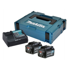 Makita Batteripakke bestående af 2X10,8V - 4,0Ah Li-Ion batterier, lynlader og MAKPAC systemkuffert.