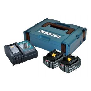Makita Batteripakke 2 stk BL1860B 6,0Ah og 1 stk DC18RC 198116-4