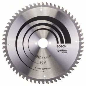 Bosch kap & gerringsavklinge 250 x 3,2 x 30mm 60T - 2608640644