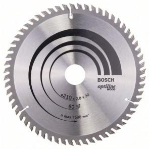 Bosch rundsavklinge Optiline Ø210 x 2,8 x 30mm 60T - 2608641190