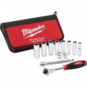 """Milwaukee ⅜"""" skraldesæt med 12 dele"""