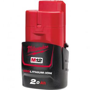 Milwaukee Batteri M12 B2 12 V. 2,0 Ah Red Lithium Ion - 4932430064
