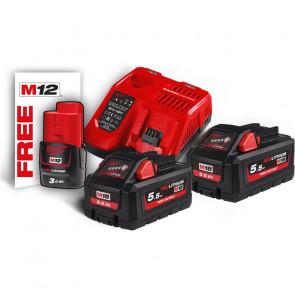 Milwaukee batterier & lader M18 HNRG-552 18V 5,5 Ah - 4933464713