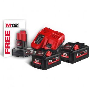 Milwaukee batterier & lader M18 HNRG-802 18V 8,0 Ah - 4933471073