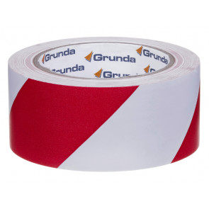 Grunda advarselstape rød/hvid 50 mm x 33 m - 500050521