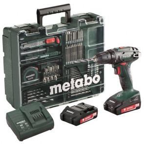Metabo Akku Bore/-skruemaskine BS 18 Li 18V 2,0 Ah Workshop sæt - 602207880