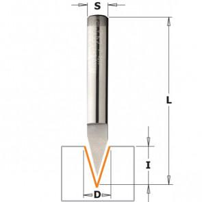 CMT Skriftfræser HM 6x9 35° K6 Z=1 - 758.002.11