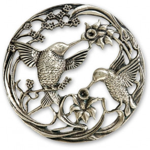 PEWTER LID TWO BIRDS - AX300269