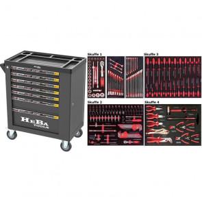 HEBA Tools Værktøjsvogn med 7 skuffer og sideskab - 183 dele - BA-91021