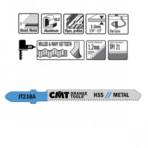 CMT Stiksavklinge 76mm HSS (Metal, Kurve, Fin) JT218A-5