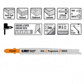 CMT Stiksavklinge 116mm HCS (Træ, Tynd/Tyk) JT234X-5