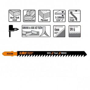 CMT Stiksavklinge 132mm HCS (Træ, Lige, Grov) JT344D-5