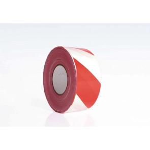 Afspærringsbånd PE rød/hvid 75mm x 500m - ROL-501130